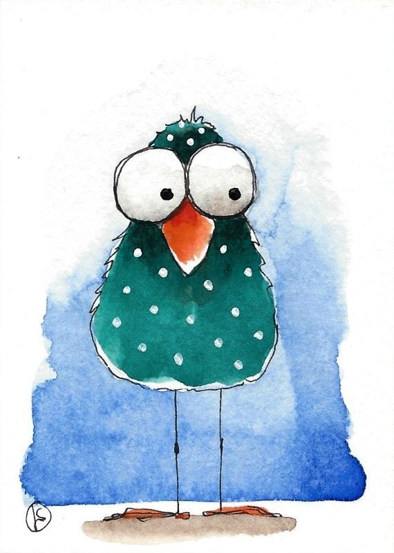 ACEO Original watercolor whimsical painting folk art illustration green bird in Art, Direct from the Artist, Paintings   eBay