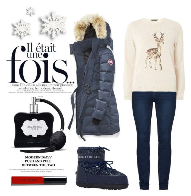 """""""Skying in Aspen"""" by tenindvr ❤ liked on Polyvore featuring Victoria's Secret, Canada Goose, Chiara Ferragni, Dorothy Perkins and Bobbi Brown Cosmetics"""