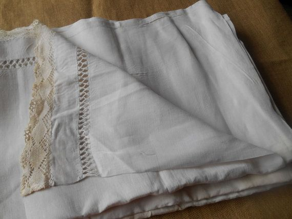 Gorgeous #Victorian  French Linen Sheet with Monogrammed Medallion Hand…