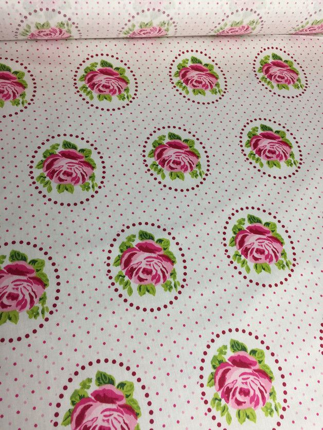"""Beschichtete Baumwolle der Firma """"stoffmädel"""" aktuelle Kollektion Bezeichnung: Rose im Kreis auf weiß Der wind- und wasserdichte sowie schmutzabweisende Stoffe eignet sich hervorragend für..."""