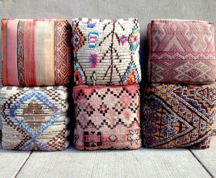 coussins de sol, jolis coussins cubiques de gamme pastel