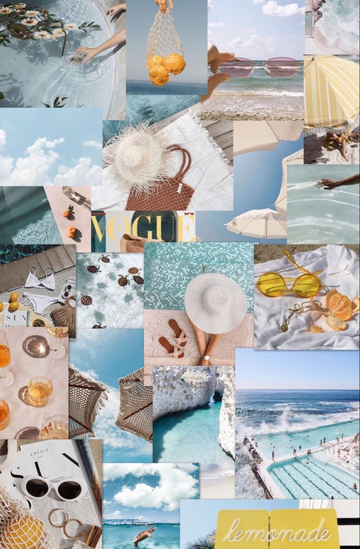 blue yellow summer collage in 2020 aesthetic iphone