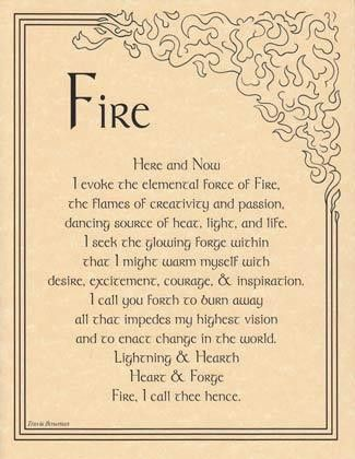 """The Fire Evocation parchment poster provides you with a handy reference for evoking the element of fire, and bringing its influence and power into your ritual magic. 8 12"""" x 11""""."""
