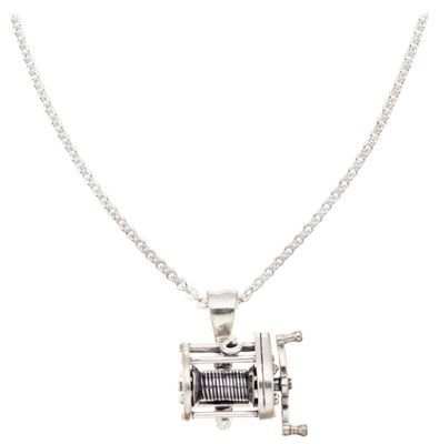 "Kabana Jewelry Sterling Silver 20'' Necklace with Casting Reel Pendant: """"""Ideal for the angler, this… #Fishing #Boating #Hunting #Camping"