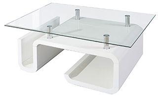Moderný a dizajnový konferenčný stolík vyrobený z lakovaného MDF vo vysokom lesku bielej farby. Stolová doska je z číreho skla. Na stolíku sú použité 4 nožičky v prevedení nerez.