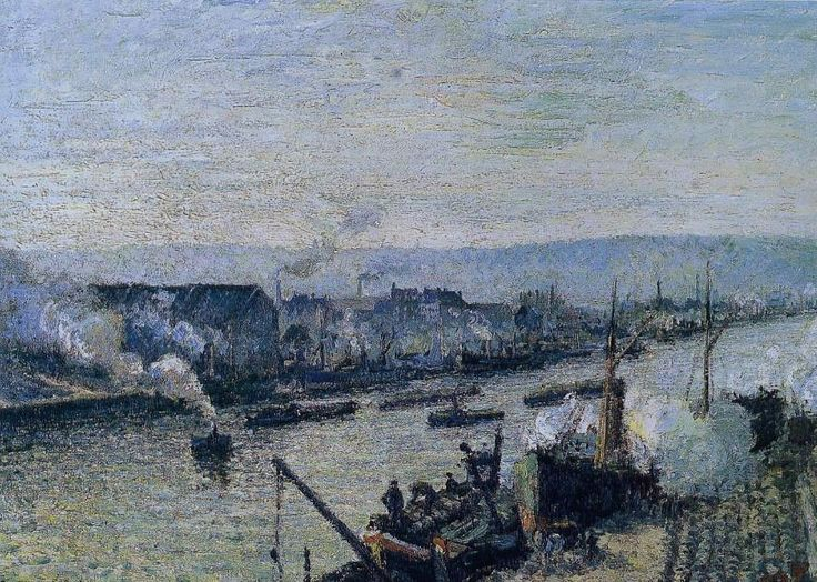 """Camille Pissarro (1830-1903) ~ """"Le Port de Rouen, Saint Sever"""" ~ Huile sur Toile 1896 (65.5 x 92 cm) ~ Musée d'Orsay, Paris"""
