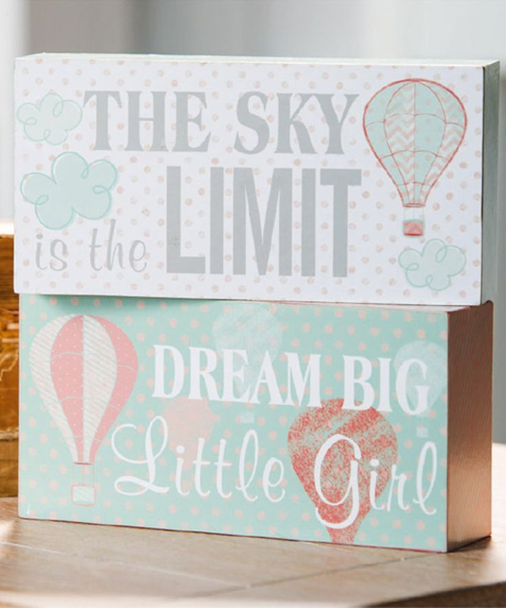 Blossoms & Buds Mint & Coral Up in the Air Block Sign Set by Blossoms & Buds #zulily #zulilyfinds
