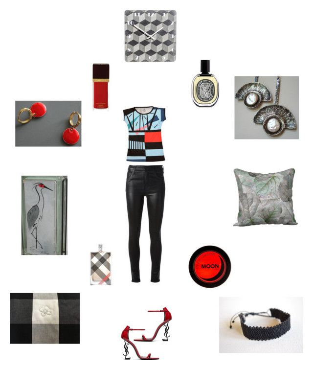 Grey Red Black by einder on Polyvore featuring Citizens of Humanity, Yves Saint Laurent, Moneta, Diptyque, Burberry and Tom Ford