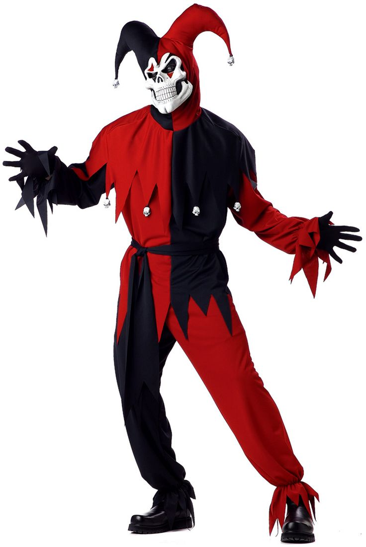 red+and+black | ... Costumes > Mens Halloween Costumes > Red and Black Evil Jester Costume