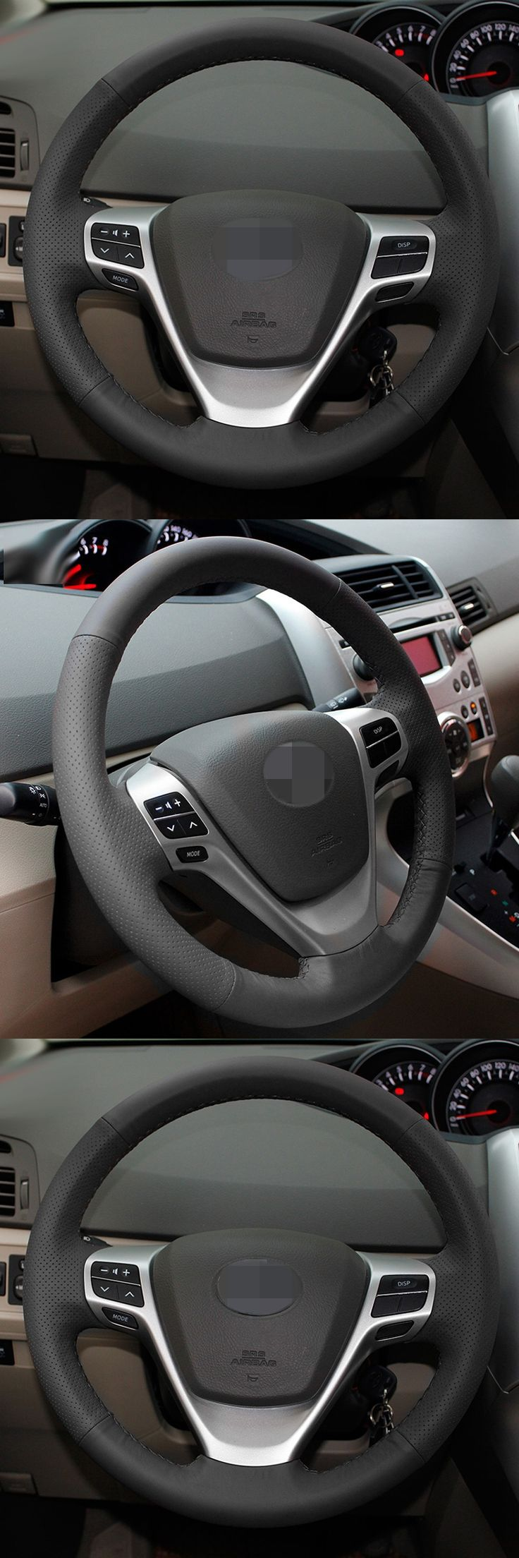 BANNIS Black Artificial Leather DIY Hand-stitched Steering Wheel Cover for Toyota Verso EZ Avensis