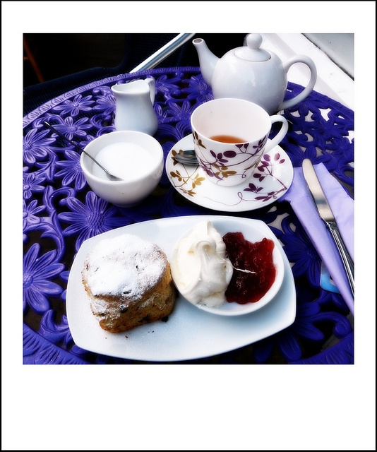 Cream tea service in Haworth Village (hometown of the Bronte sisters). Great homemade cream. Tasty tea. #tea #clottedcream