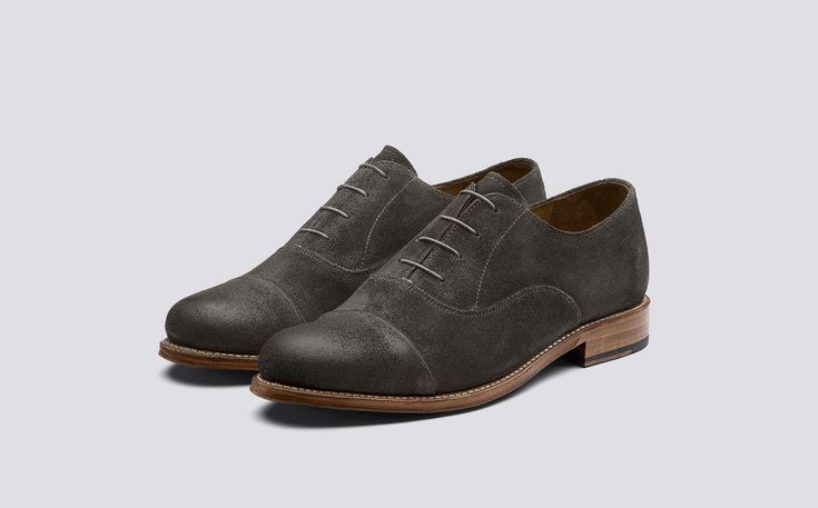 Benjamin | Mens Oxford in Bronze Burnished Suede on Leather Sole | Grenson Shoes - Three Quarter View