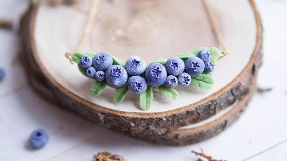 Blueberry Pendant. Woodland Necklace.  Everyday Necklace.  Botanical Necklace.
