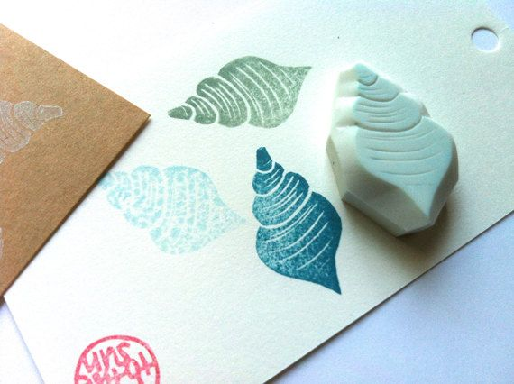 NEW! sea shell rubber stamp. hand carved rubber stamp. by talktothesun, $7.00