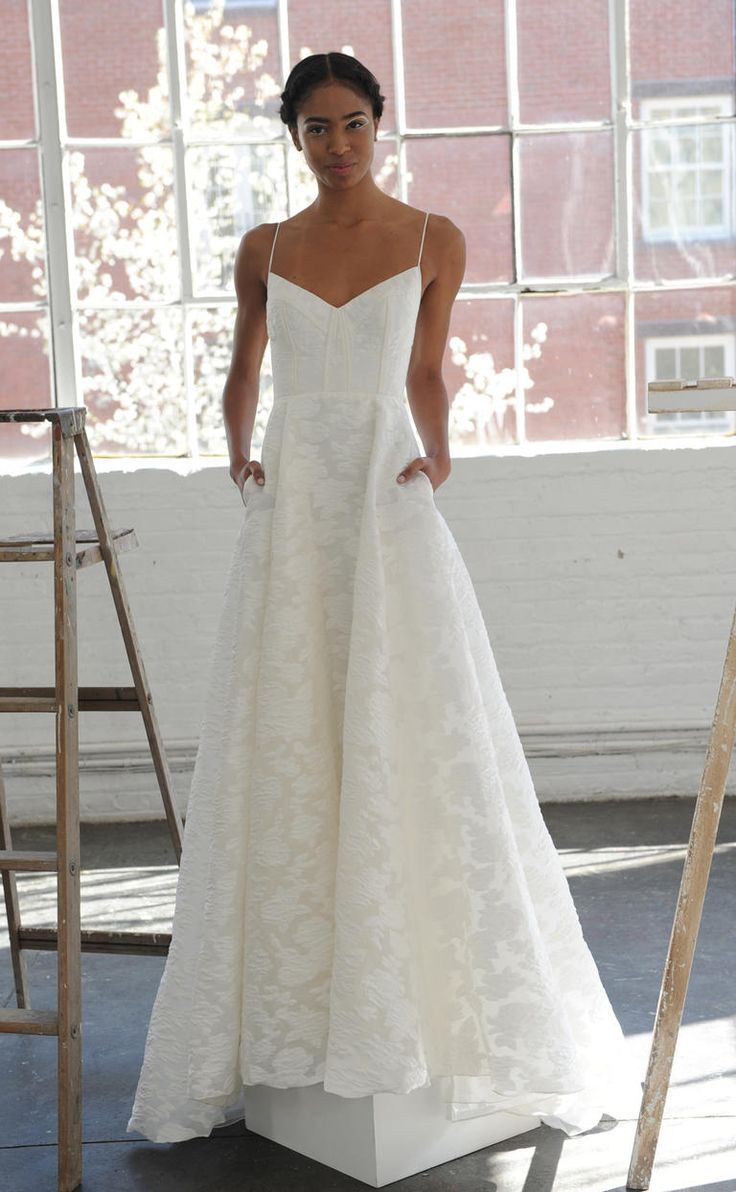 V-neck neckline with spaghetti straps and structured bodice | Lela Rose Spring 2017 | https://www.theknot.com/content/lela-rose-wedding-dresses-bridal-fashion-week-spring-2017