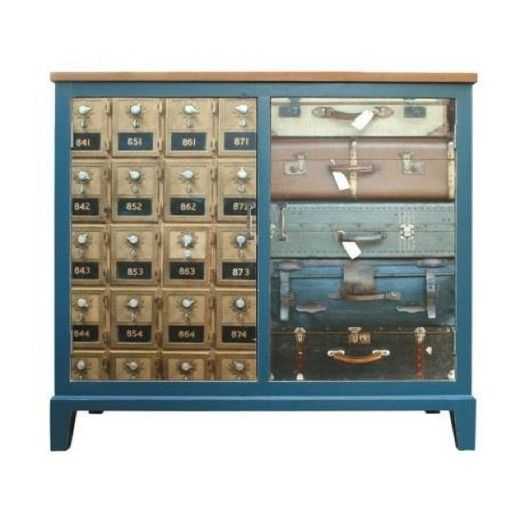 This delightful cabinet is hand crafted to the highest specifications from solid teak the cupboard doors are hand painted with gorgeous suitcase and locker designs. Feature in a living room or bedroom to create a casual vintage charm. A gorgeous piece for a boys bedroom.  W 96.5 cm  D 40 cm  H 106 cm