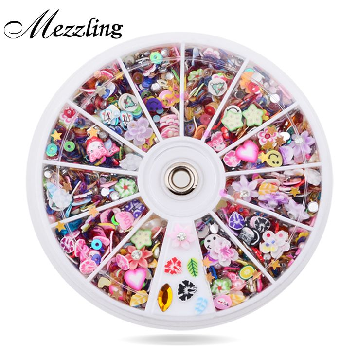 Mixed Fimo Resin Sequin Colorful Design Glitter Nail Art Tips Rhinestone Slice Decoration Manicure Nail Wheel Tools