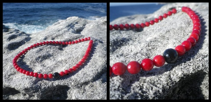 Polished Coral & Black Agate Gemstone Necklace, Sterling Silver Toggle Clasp  http://www.facebook.com/ZadiaDesigns