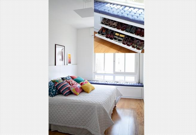 """O estilo modernista deste apartamento oferecia amplitude. Mas tinha espaços desperdiçados. Por isso, a equipe do a:m studio de arquitetura criou o baú que aproveira a área debaixo da janela. """"A peça tem vários usos: a moradora guarda sapatos, pode sentar para calçá-los e ainda ver a vista"""", explica Mariana Weigand"""