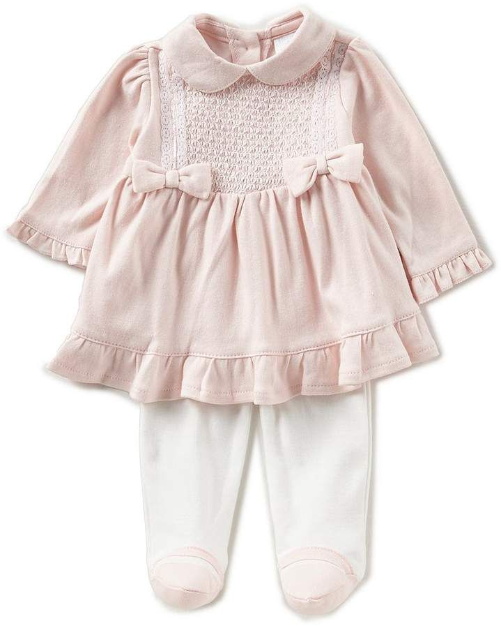 f8a14a6502c6a Baby Girls Newborn-6 Months Bow Pleated Dress, Footed Pants, & Headband Set  #footed#Dress#pants