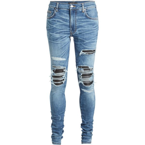 Amiri Distressed Jeans (50,725 DOP) ❤ liked on Polyvore featuring men's fashion, men's clothing, men's jeans, jeans, pants, bottoms, blue, mens slim fit jeans, mens ripped jeans and mens cuffed jeans