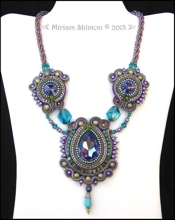 Purple Teal and Olive Soutache necklace by MiriamShimon on Etsy, $190.00
