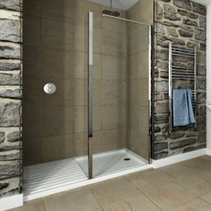 Recess Walk In 1600 X 800mm Acrylic Shower Tray With 1000mm Glass Return