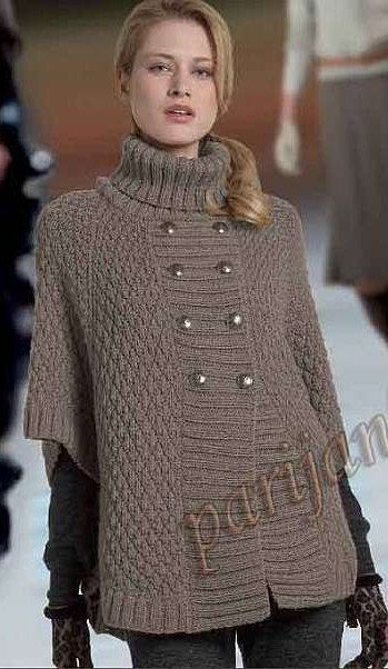 Hand Knit Turtleneck Poncho with sleeves Made to por tvkstyle