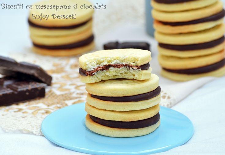 Biscuiti cu mascarpone si crema de ciocolata