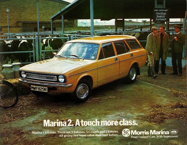 1977 Morris Marina 2 Estate ....morsomt: a touch of class og så er den parkeret i ikke så lidt kolort!