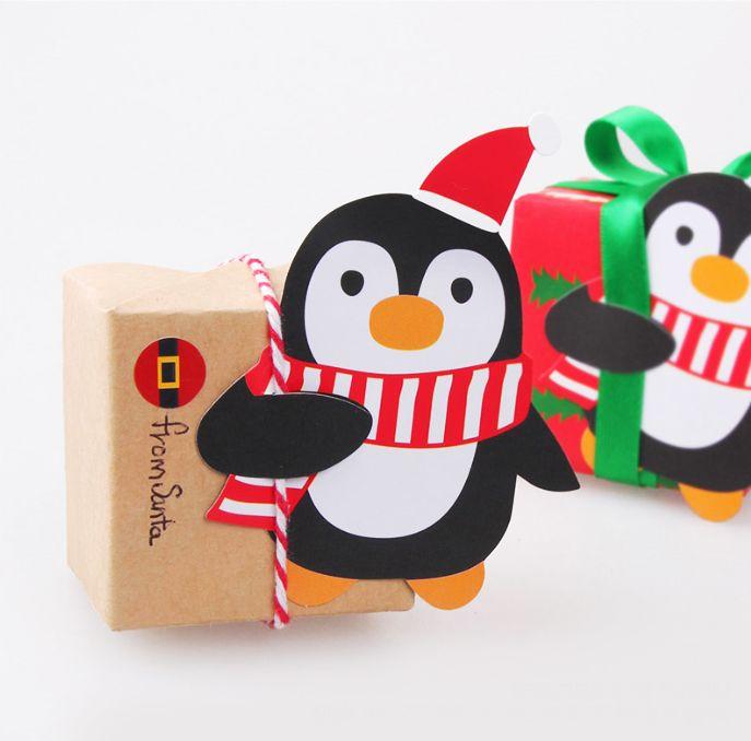 [바보사랑] 무엇이든 꽂아주면 꼬옥 안아줘요~ /택/텍/tag/크리스마스/선물포장/포장지/디자인문구/선물/gift/펭귄/캐릭터/막대사탕/페이퍼