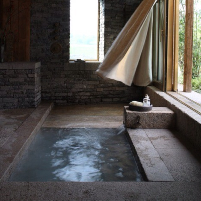 Not modern but would make you feel like your bathing outdoors - like in the olden days