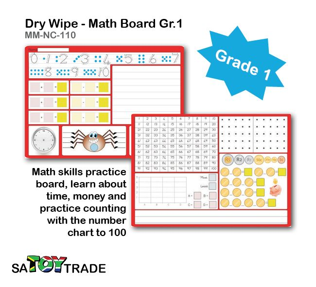 Learn all the basic maths required of a grade 1 student. A great product to exercises extra math equations at home or in the classroom. Only use a whiteboard maker to fill in all the answers, for easy clean and reuse. Activities include: handwriting, counting, number concepts, subtraction, addition, telling the time, money concepts, 1-100, etc. Develops fine motor skills, handwriting, maths, concentration and thinking. Ages Grade 1.