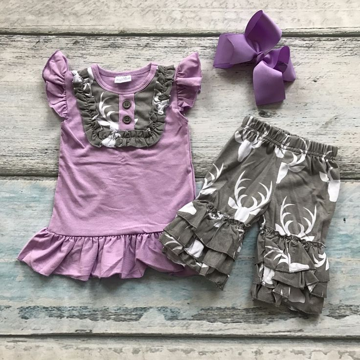 purple gray deer shorts outfit new design kids wear with matching bow set