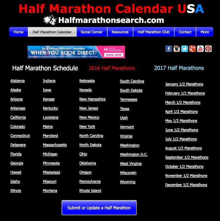 Search For Half Marathons Half Marathon Calendar Usa Half Marathon Schedule Running Halfmarathons Www Calendar Usa Half Marathon Running Half Marathons