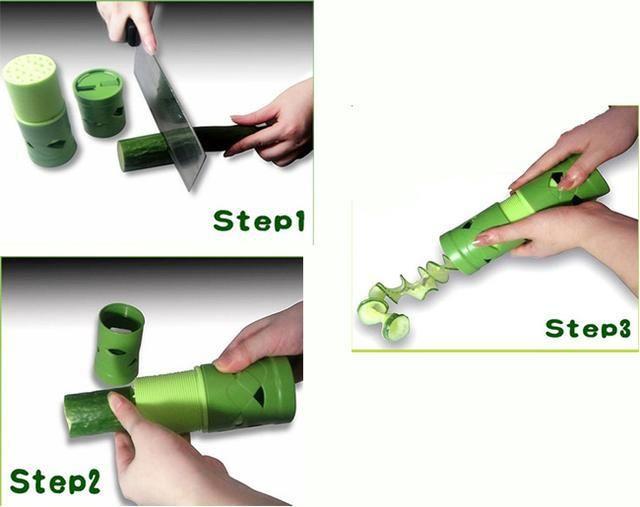 New Easy Garnish Veggie Fruit & Vegetable Cutter Spiral Slicer ?FREE SHIPPING