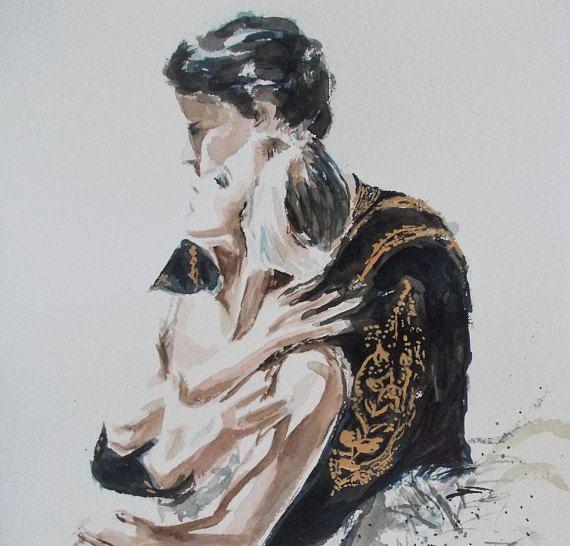 Original ballerina painting,Romeo and Juliet watercolor painting,Couple painting,romantic painting,ballet painting,ballet watercolor art