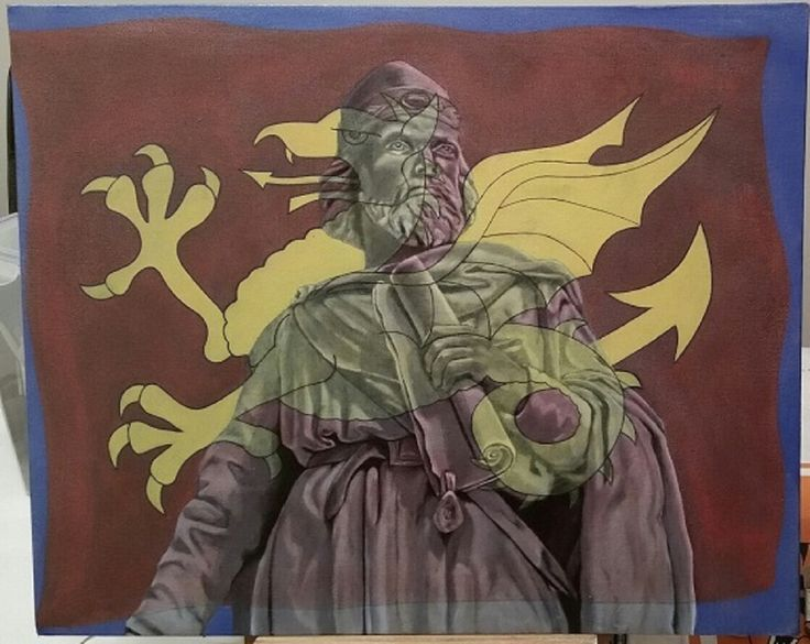 "King Alfred, ""The Great"" Painting in oil 30cmx20cm http://paintings-by-des-pickering.weebly.com/  Born in Wantage in 849 King of Wessex 871 to 899 Statue stands in my home town of Wantage UK The flag is his banner bleeding through"