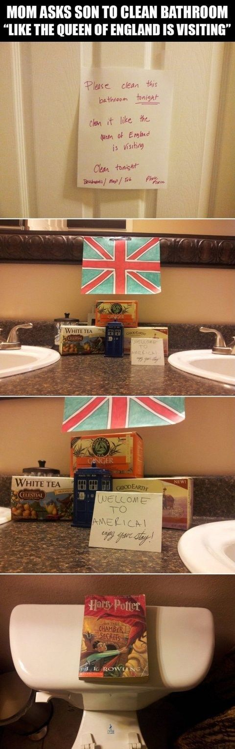 Challenge Accepted, My Dear!-harry potter fans are awesome,england, flag, queen, harry potter book, toilet, meme, chamber of secrets, cleaning, clever, kid, soap, welcome, america, funny