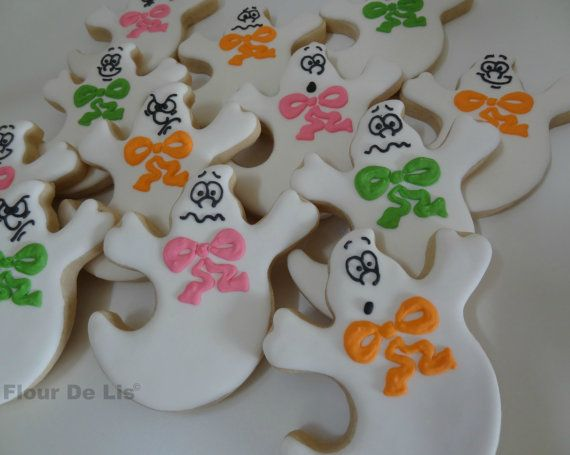 1 Dozen Halloween Ghost Cookies by FlourDeLisShop on Etsy