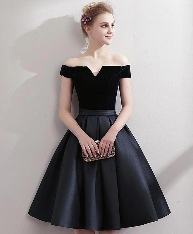 62fa4ad262e65 Black satin short prom dress, black homecoming dress in 2019 ...