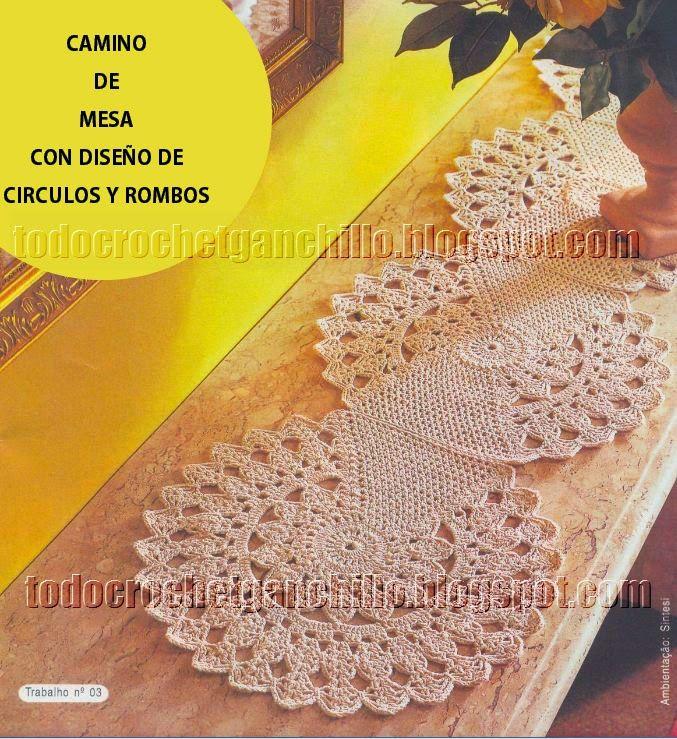 Camino de mesa crochet con dise o de c rculos y rombos for Camino de mesa a crochet