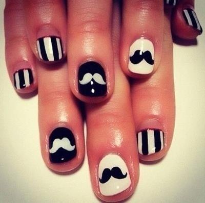 #Black #White #Nails #Mustaches   #Stripes :) #GlamourITALIA #FashionAngel #MATERA