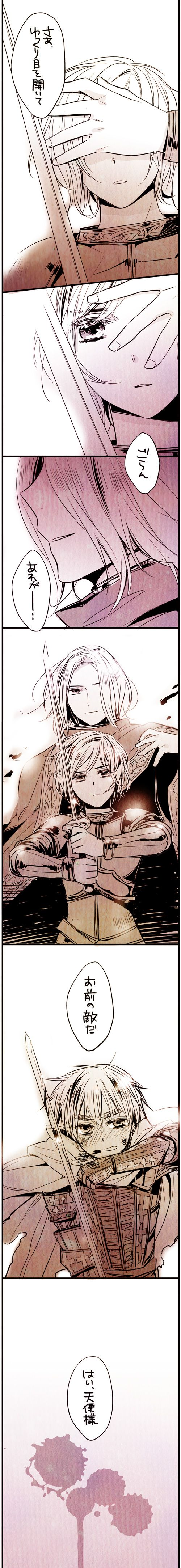 """Francis, Jean d'Arc, and Arthur - It says """" Now open your eyes and look over there. That is your enemy. ( France ) Yes Mr. Angel ( Jean d' Arc ) """" - Art by Fuji"""