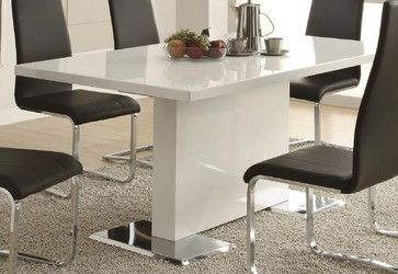 w/o the chrome though...White Dining Table with Chrome Metal Base - modern - dining tables - Dexter Sykes