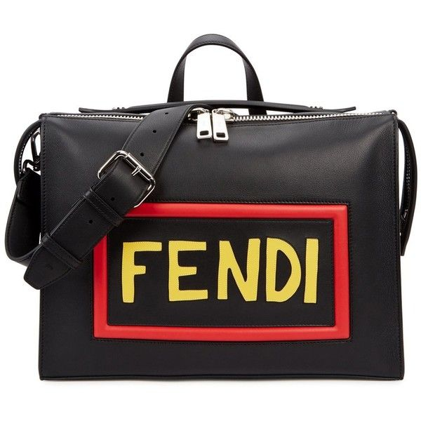 Fendi Mini Black Leather Messenger Bag (51.190 ARS) ❤ liked on Polyvore featuring bags, messenger bags, zip messenger bag, fendi, courier bag, fendi bags and zipper bag