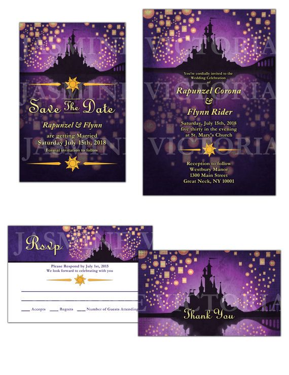Tangled inspired Wedding Invitation Save the by JasmineVictoria