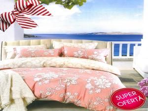 Set lenjerie de pat Pink and Cream Floral Pattern 1+1 GRATIS