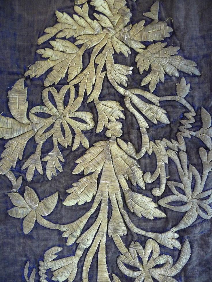 Turkish Embossed Silver Gilt Thread Embroidery on Blue Silk Velvet.
