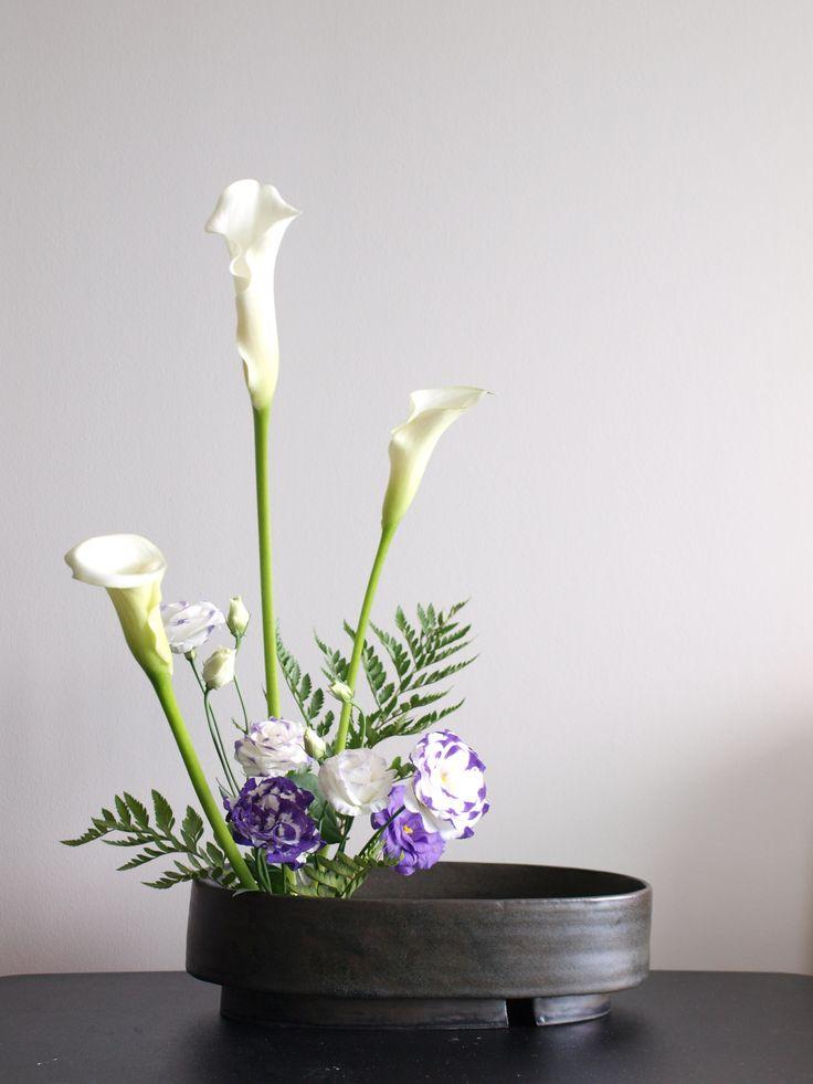 Ohara Style Ikebana Moribana Upright Style Calla Eustoma